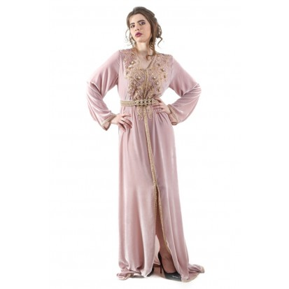 Gray Flowers Caftan - MUSK Tissus & Couture - Marque Marocaine ...
